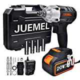 Cordless Impact Wrench, JUEMEL Impact Driver 20V, 320N.m Torque, 4.0Ah Lithium Battery, 2-Speed/Brushless