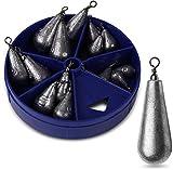 Storfisk fishing & more 15 Stück Birnenbleie mit Wirbel Bleigewichte in praktischer Spenderbox zum Angeln