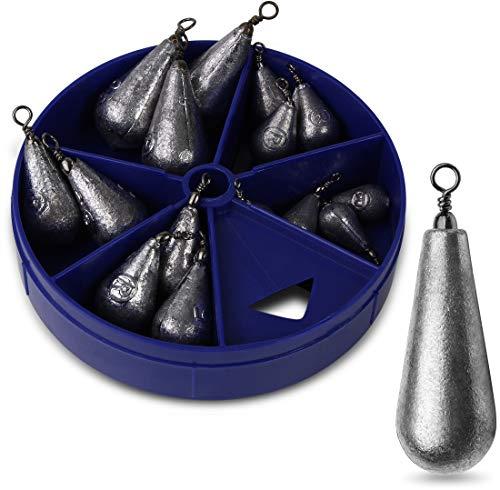 Storfisk fishing & more 15 Stück Birnengewichte mit Wirbel Angelgewichte in praktischer Spenderbox zum Angeln
