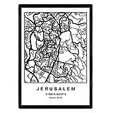Stadtplan Blatt Jerusalem skandinavischen Stil in Schwarz