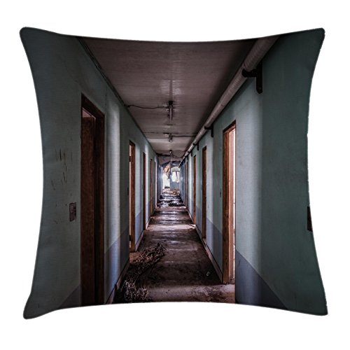 "Ambesonne Rustic Throw Pillow Cushion Cover, Interior Hallway of a Korean Psychiatric Hospital Asylum Nostalgic Picture Print, Decorative Square Accent Pillow Case, 18"" X 18"", Brown Blue"