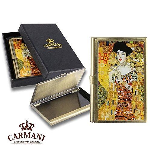 Carmani - Messing Metall, Geschäftsleben, Name, Kredit, ID Card Organizer, Card Case mit Gustav Klimt 'Adele'
