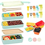 Bento Box for Kids with Silicone Cupcake Baking Cups & Food Picks for Kids,3-In-1 Compartment Lunch...