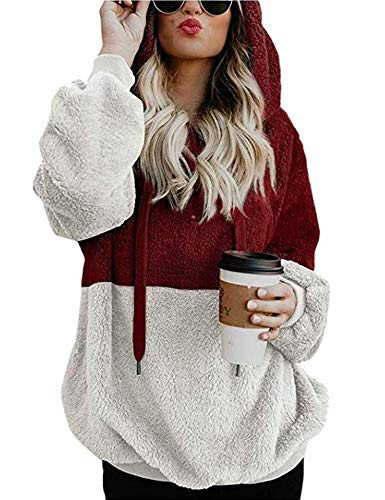 Women's Fuzzy Casual Loose Sweatshirt Hooded Pullover Coat with Pockets Wine Red L