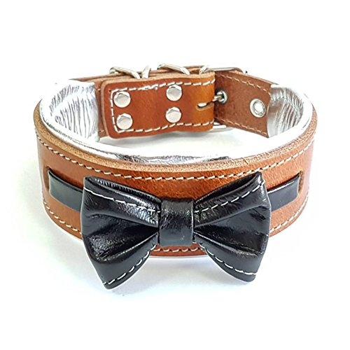 Bestia 'Bowtie Dog Collar, Leather, Bulldog Deisgn, 2 inch Wide, Soft Padded, S or M Size, Handmade in Europe!