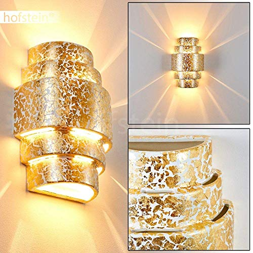 Wandlampe Handan aus Keramik in Gold/Weiß, Wandleuchte mit Up & Down-Effekt, 1 x E27-Fassung max. 60 Watt, Innenwandleuchte mit Blattgold-Effekt, geeignet für LED Leuchtmittel
