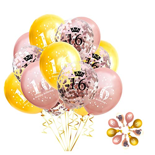 Jonhamwelbor Sweet 16th Birthday Balloons Rose Gold and Gold Party Decorations 15 Pack 12 inch Latex and Confetti Balloon Printed with Happy Birthday 16 for Girl