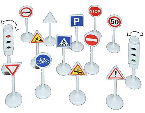 alles-meine.de GmbH 14 TLG. Set Verkehrszeichen - mit funktionierender Ampel - 1/64 - 6,8 cm groß - für Kinder / auch zum Lernen - für Auto Fahrzeuge - Verkehrsschilder Verkehrss..