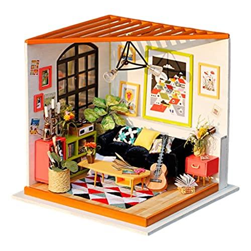 F Fityle Casa de muñecas en Miniatura con Muebles, Kits de casa de muñecas de Madera de Bricolaje Sala Creativa - Sala de Estar