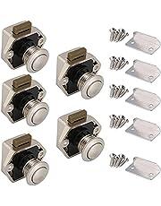 Drukknop deurslot, keyless-kast pull lock,kastknop slot, push button catch deurslot, 2 stuks deurvergrendeling, voor caravan, caravan, camper, schuifladen, kast (parelnikkel)