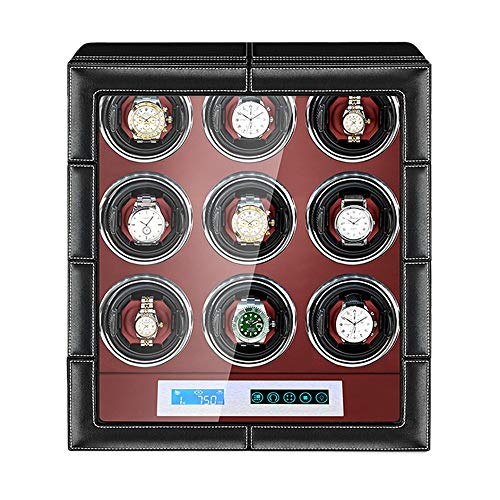 ZNND Caja Enrolladora Reloj Automática Pantalla Táctil LCD Almohadas Reloj Ajustables Exterior Cuero Motor Silencioso Iluminación LED Incorporada (Size : 9+0)