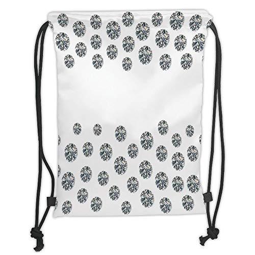 Fevthmii Drawstring Backpacks Bags,Diamond Decor,Various Circle Cut Diamonds on Plain Background Love Arrows Digital Prints Decorative,Grey White Soft Satin,5 Liter Capacity,Adjustable STRI