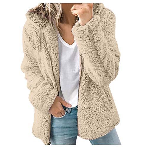 SSMENG Sudadera de forro polar para mujer con capucha y cremallera completa, de manga larga, mullida, de forro polar