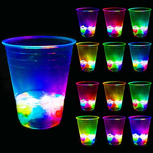 16oz Glowing Party Cups for Indoor Outdoor Party Event Fun, Pack with Flashing color Bright...