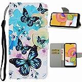 Nadoli Handyhülle für Samsung Galaxy A11/M11,Elegant Blau Schmetterling Blumen Muster Premium...