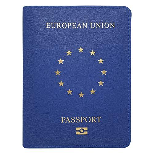 Reisepasshülle EU mit Kartenfächern - Kunstleder Ausweishülle | Passport, Hülle, Tasche, Case, Etui - BLAU