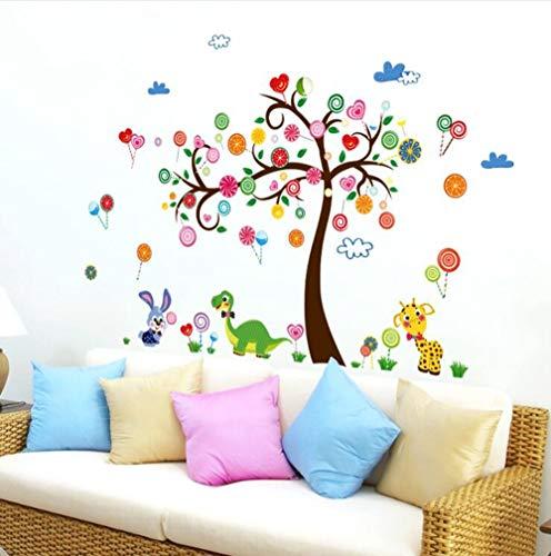 QTXINGMU Dinosaur Konijn Dieren Muurstickers Diy Snoepjes Boom Muurdecoratie Voor Kids Slaapkamer Kwekerij School Decoratie