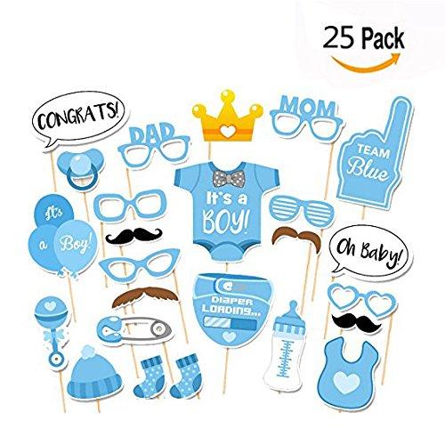 Itian 25 stuks fotorekwisieten fotoaccessoires maskers fotorequisieten baby jongen feestdecoratie (luiers, flessen, sokken, glazen, ballonnen, baard)