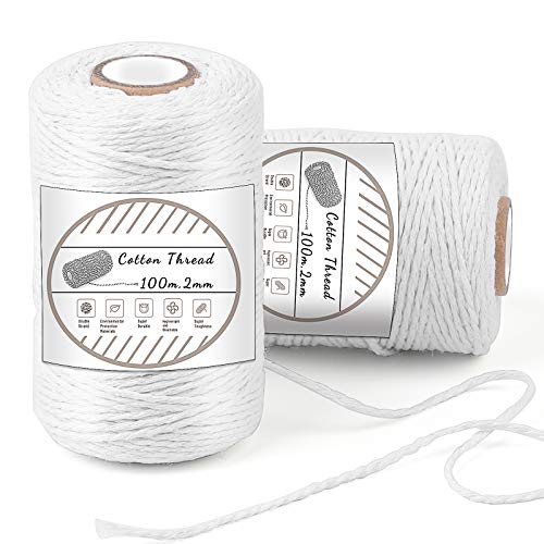 2 Pieces Cotton String, 100M/328 Feet Cotton Bakers Twine String, Cotton Cord, Gift Wrapping Twine for Baking, DIY Crafts, Home Decoration (White)
