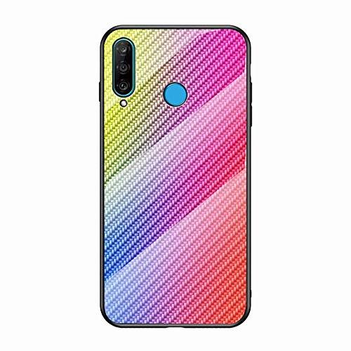 Miagon Glas Handyhülle für Huawei P Smart 2019,Kohlefaser Serie 9H Panzerglas Rückseite mit Weicher Silikon Rahmen Kratzresistent Bumper Hülle für Huawei P Smart 2019,Bunt