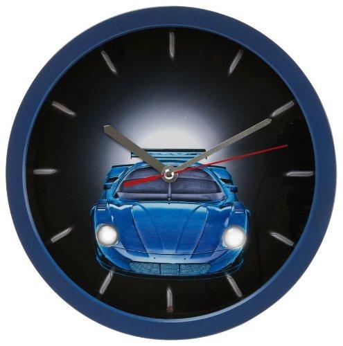 Wandklok auto blauw Wallclock cars blue