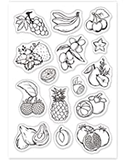 GLOBLELAND Fruit Clear Stamps Silicone Stamp Cards Banana Grape Pear Pomegranate Tropical Fruit Clear Silicone Stamp for Card Making Decoration and DIY Scrapbooking