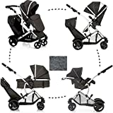 New HAUCK DUETT 2 Double Tandem Twin Pushchair PRAM Buggy Travel System+CARSEAT with ADAPTORS+Free Lassig Tender Brief Diaper Changing Bag
