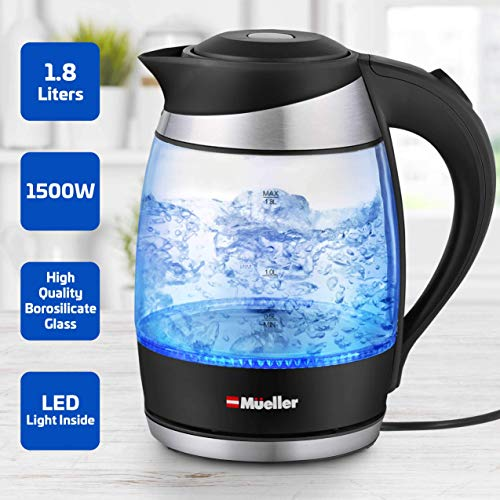 Mueller Ultra Kettle: Model No. M99S 1500W Electric Kettle with SpeedBoil Tech, 1.8 Liter Cordless with LED Light, Borosilicate Glass, Auto Shut-Off and Boil-Dry Protection