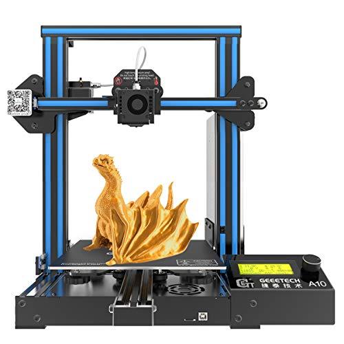 GEEETECH A10 Pro Stampante 3D Prusa I3 Assemblaggio facile e veloce DIY Kit con area di stampa 220×220×260mm, Ripresa del lavoro in caso di blackout elettrico, scheda madre GT2560 4.1B OPEN SOURCE. …