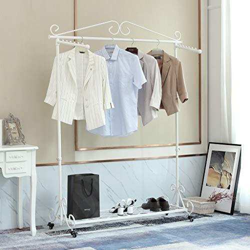 Kleiderständer Kleiderstange Garderobenständer mit Schuhablage, Breite 136cm,Vintage-Stil Metall Höhenverstellbar von 126 bis 200 cm LWK14-1 (Weiß mit Rollen)