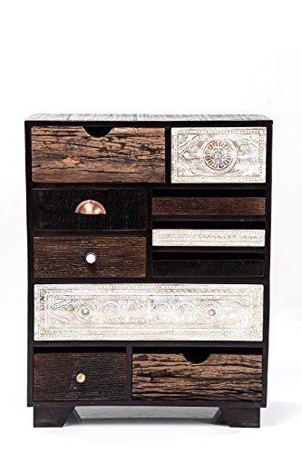 Kare Design Kommode Finca 10 Schübe, modernes, schmales Sideboard, Kommodenschrank aus Mangoholz, Braun-Weiß, Patchwork Kommode, (H/B/T) 90x70x30cm