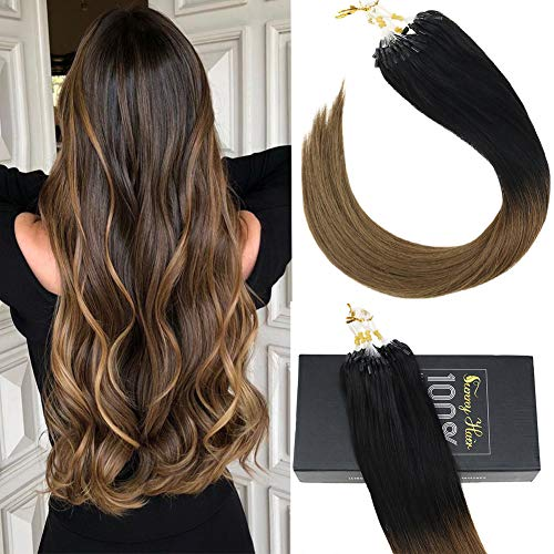 Sunny Ombre Natural Black to Brown Micro Ring Straight Hair Extensions