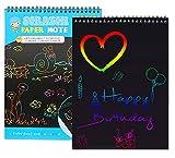 Naomo Blocco da Disegno Scratch Paper per Bambini, Arte dello Scratch Board con 2 Stilo in Legno Sticks e 4 Stencil (2 Books)