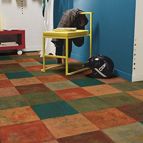 livingfloor® PVC Bodenbelag Mediterranes Fliesendekor Terracottafliesen Mehrfarbig 2m Breite, Länge variabel Meterware, Größe:1 Muster / Sample