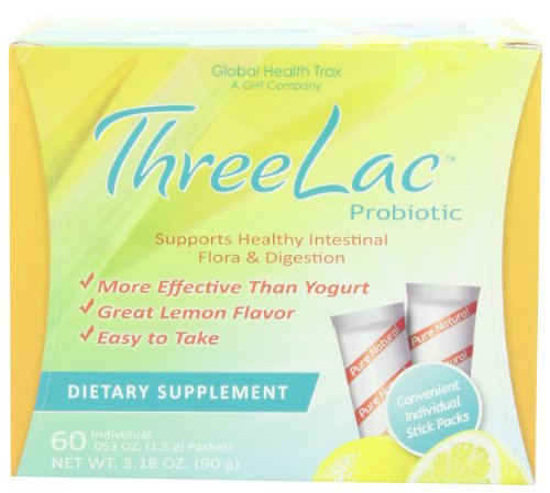 Threelac Probiotic Dietary Supplement, Natural Lemon Flavor, Includes 60 .053-Ounce Packets