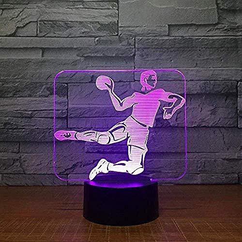 Creativo Balonmano 3D Luz Led 7 Color Táctil Base 3D Luz de Noche Lámpara de Mesa Bebé Sueño Noche Deportes Abanico Niños Regalo Accesorios Decorativos