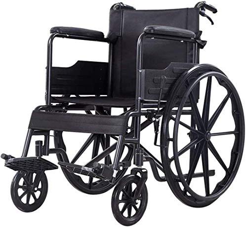 min min Silla de enfermería Ligera y Sencilla, con discapacitados Scooter Viejo, multifunción Plegable Push Walker Trastornos de la Pierna Scooter Silla de Viaje/Negro / 65 × 92 × 88cm