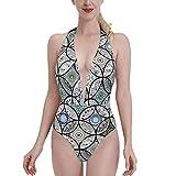 Bañadores Round Irregular Color Grey Mandala Flower Bikini de una Pieza con Cuello en V para Mujer, Sujetador con Relleno, Traje de baño en la Playa S