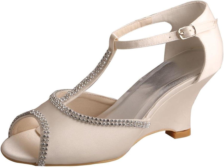 Wedopus MW537 Women's Satin Wedge Heel Peep Toe T-Strap Rhinestone Prom Sadals Ivory Wedding Bridal shoes