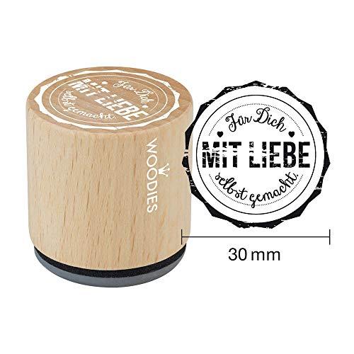 Woodies Stempel für Dich mit Liebe selbst gemacht, Holz, 3,4x 3,4x 3,5cm