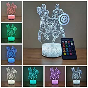 Spiderman Night Light Iron Man Captain America 3D Optical Illusion Lamp 7 Colors Change, Birthday Christmas Gifts for Kids Boys Amazing Light Touch Table Desk LED Home Decoration (Spiderman)