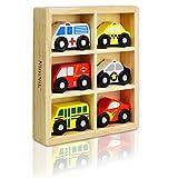 NIMNIK Jouets en Bois Voitures Bus Engine véhicules d'urgence Toy éducatif pour l'apprentissage précoce pour 2 Ans