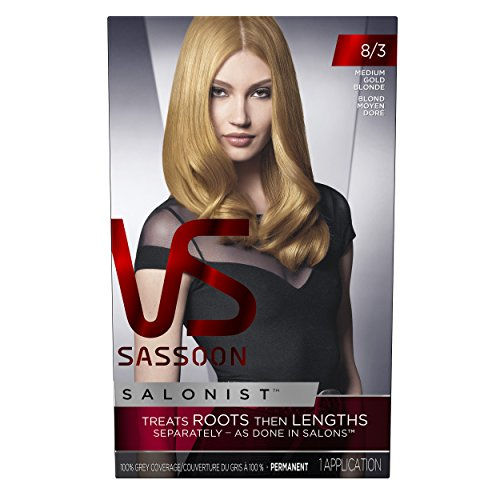 Vidal Sassoon Salonist Hair Colour Permanent Color Kit, 8/3 Medium Gold Blonde