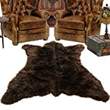 Fur Accents Brown Grizzly Bear Skin Faux Fur Area Rug - Small 3' x 5' - Thick Plush Shag - Bonded Ultra Suede Lining - Hand Made USA by Fur Accents