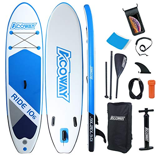 "ACOWAY Inflatable Stand Up Paddle Board, 10'6"" × 32"" × 6"" Inflatable Paddle Boards, Accessories Backpack, Bottom Fin Paddling Surf Control, Non-Slip Deck, Youth & Adult Stand up Paddle Board, Blue"