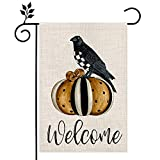 CROWNED BEAUTY Fall Halloween Welcome Garden Flag Double Sided Vertical 12×18 Inch Pumpkin Black Crow Rustic Farmhouse Decor for Seasonal Holiday Yard CF265-12