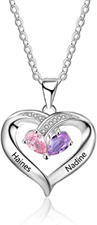 ICRIS Personalized 925 Sterling Silver Birthstone Necklace for Mothers Women Heart Name Necklace with 2 Simulated Birthstones Couples Name Necklace for Birthday Gifts