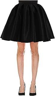 Women Short Pleated Flare Skater Full Skirt Satin Prom Party Skirts Dress