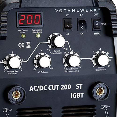 STAHLWERK AC/DC WIG 200 Plasma ST IGBT – Kombi 200 Amp WIG + MMA Schweißgerät mit 50 Amp CUT Plasmaschneider, ALU geeignet, weiß, 7 Jahre Garantie - 5