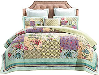 ENCOFT Flower Patchwork Quilt Sets Queen/King Size 3 Pieces, 1 Quilt, 2 Pillowcases, Cotton Quilted Bedspread Bedding Sets for Queen/King Bed, Lightweight Quilt Sets (Flower Patchwork Quilt, King)